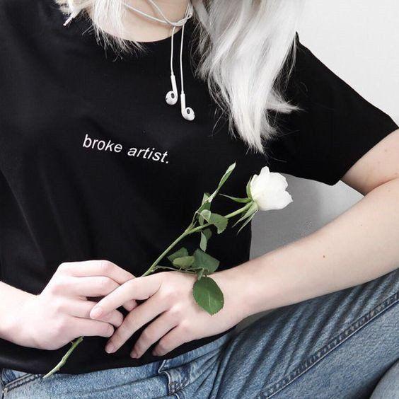 Street Punk Chic Broke Artist. Cool Grunge Casual T-shirts Graphic Tee – Lupsona
