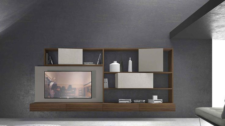 crossART arrangement #506 Presotto.Tabacco aged oak structure and wall-hung base units; grigio Tasmania matt lacquered TV panel and inclinART wall unit H.576; ecomalta® grigio polvere InclinART wall units H.384. By Presotto