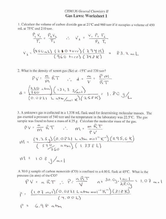 Gas Variables Worksheet Answers Unique Gas Stoichiometry ...