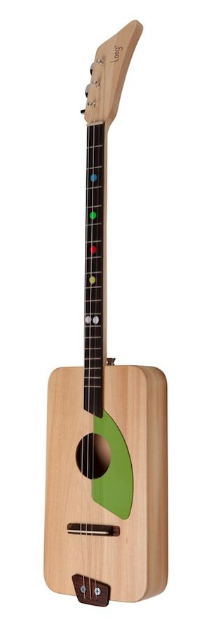 3 String guitar for kids! It comes unassembled so you can build it with them and help them connect to it.