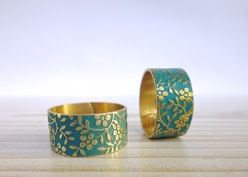 PETROL mattgold Patina floral Messing Ring