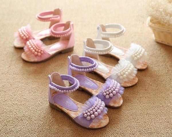 Wish | Children Shoes For Girl Lace Floral Summer Sandal Peep Toe Sandal Dancing Wedding Shoes