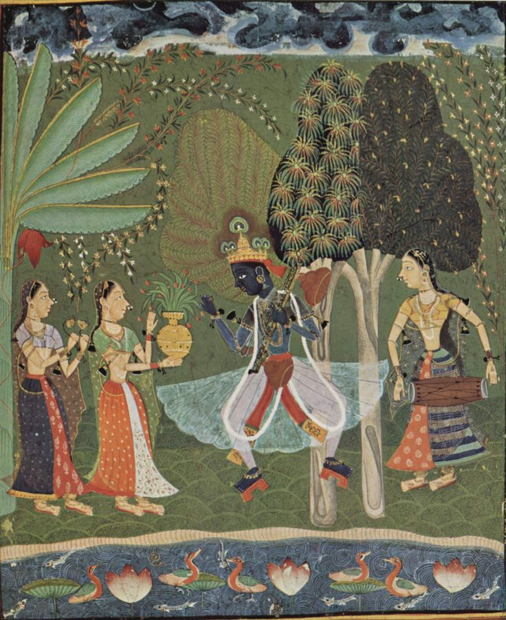 Krishna dancing, gopis playing. Painting in the Deccan style.