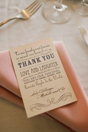 Thank You Wedding Favor Reception Card. %s%.75, via Etsy.