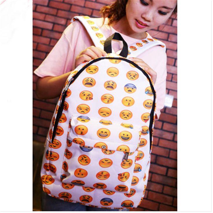 qicaiyanzi 2017 New QQ Printing Emoji Backpack Canvas Travel Satchel Cute Brand Gril School Rucksack High Quality