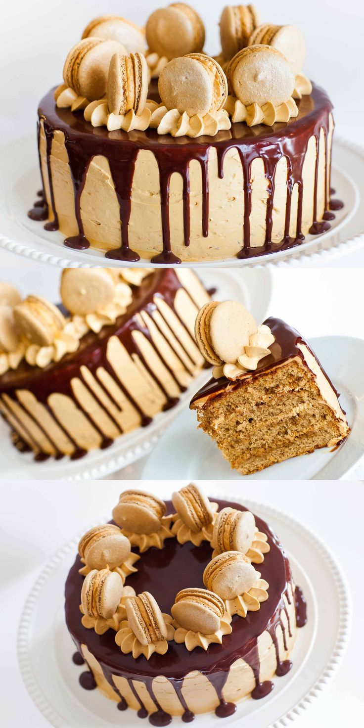 Coffee Caramel Cake with Chocolate Ganache and Macarons: Video Tutorial
