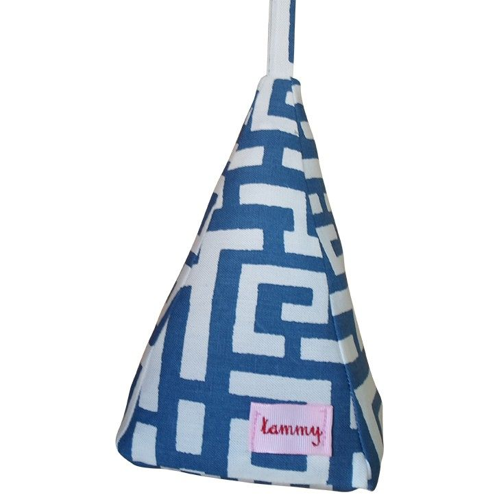 Tammy Tiger   Greek Block Printed Doorstop in Blue and White   Homeware   5rooms.com