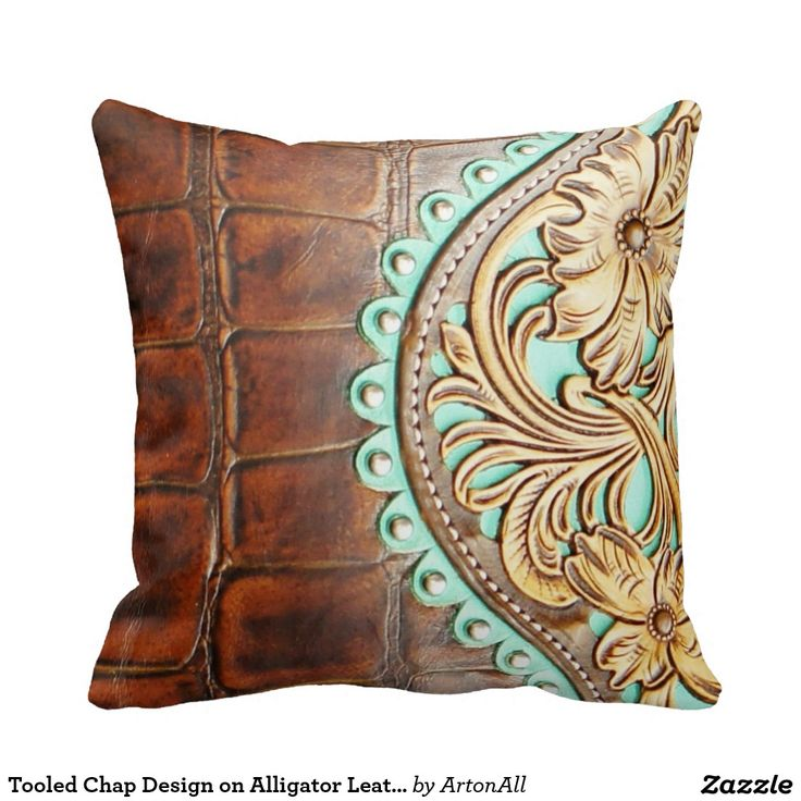Leather Look Decorative Pillows : Tooled Chap Design on Alligator Leather Look Throw Pillow Home, Leather and Design