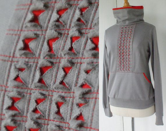 SAMPLE SALE Sweater sporty autumn winter fashion with cowl neck in grey and red fleece sweatshirt jersey