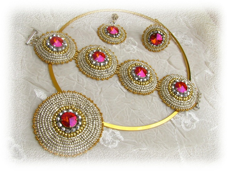 bead embroidery jewelry | Astral pink jewelry set - bead embroidery - silver, gold, fuchsia ...
