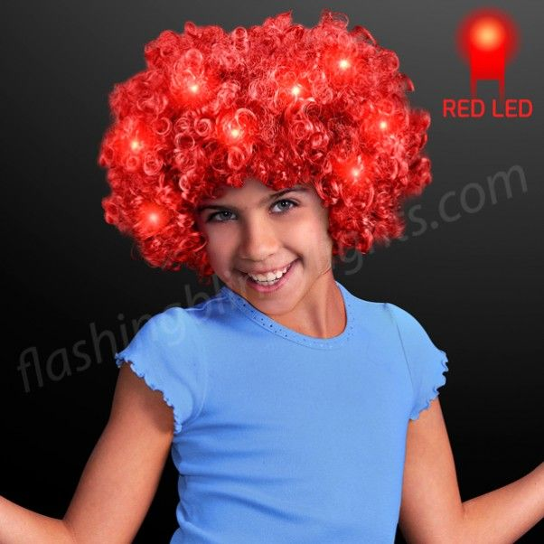 LED Red Curly Wig with Blinking Lights at FlashingBlinkyLights.com