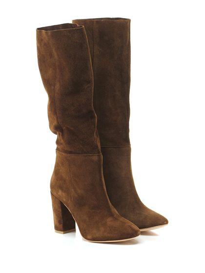 STRATEGIA - Stivali - Donna - Stivale in camoscio con suola in cuoio. Tacco 95, altezza gambale 370, interno sfoderato. - TABACCO - € 325.00
