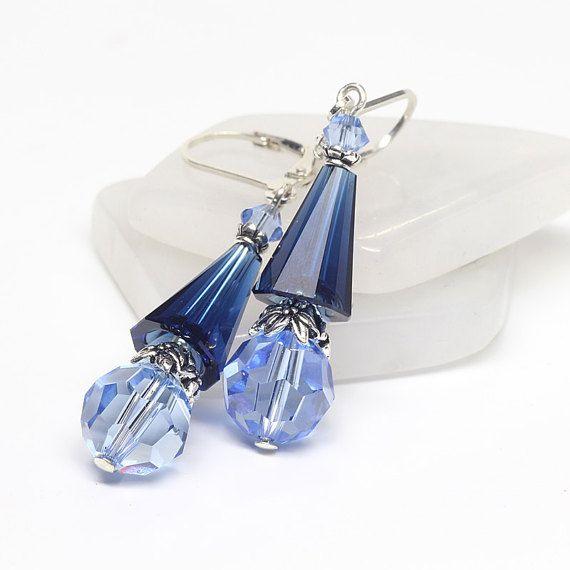 Blue Swarovski Artemis Crystal Earrings Sapphire by ElandraDesigns