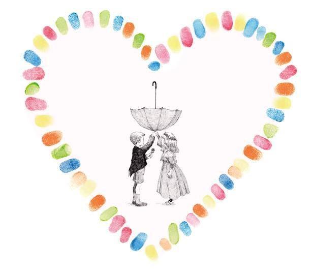 しるしあう、ひとつのしるし*ゲストみんなで作る『Marca』の指紋ウェルカムボードが可愛い♡にて紹介している画像