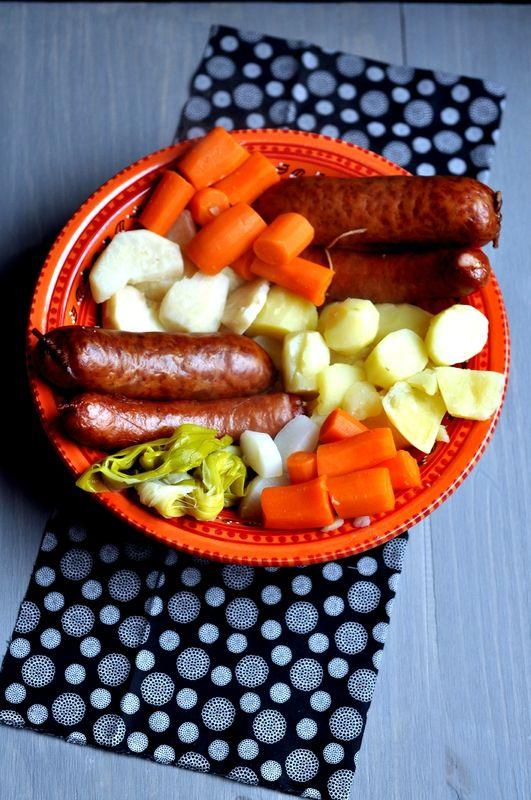 cocotte de légumes d'hiver & saucisses de Montbéliard et Morteau