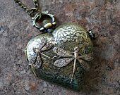 Ähnliche Artikel wie Victorian Love Dragonfly Locket Watch in Brass Exclusive Design by Enchanted Lockets auf Etsy
