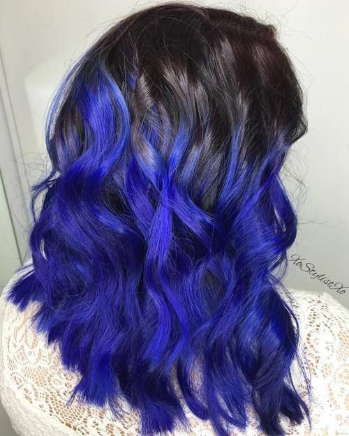 Medium Electric Blue Ombre Blueombre Indigo Hair Hair Styles