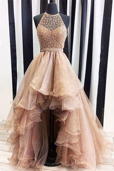 99fbb8cab1a6 Champagne Organza Prom Dress