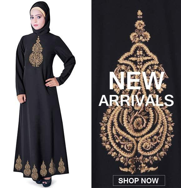 For a perfect traditional look, this black colored abaya from Zet Zone is a great pick. The poly fabric of this dress looks appealing owing to the fascinating embroidery at bottom & front. This dress is also prized for its striking color combination that will add to your charm.
