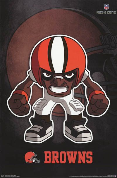 """A great poster featuring the """"Rusher"""" logo for the Cleveland Browns NFL Football Team! Fully licensed. Ships fast. 22x34 inches. Need Poster Mounts..? td-fp6626"""