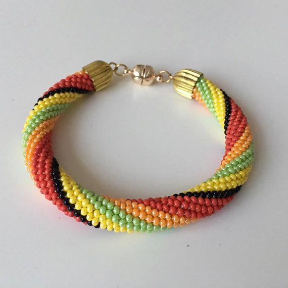 Bead Crochet Bracelets, Beaded Crochet Bracelet, Colorful Nepal Bracelet, Roll on Bracelet, SALE