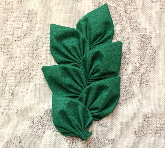 Fabric Leaves Dark Green Leaves Christmas by WhiteLilyFlowers, $2.40