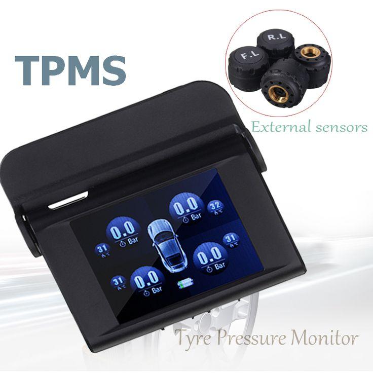 TPMS Type Pressure Monitor System Auto Solar Energy Power 4 External Sensors