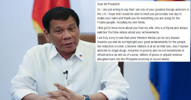 A facebook post from a British Citizen with a Filipino heart named Malcolm Conlan caught the heart of the filipino netizens and now trending because of his heartwarming message of appreciation addressed to President Rodrigo Duterte.  Malcolm used the social media to sincerely express his gratitude to the Philippine President because of the improvement he is seeing in the country like free of corruption drugs and criminality since Duterte was elected as the President having been travelling…