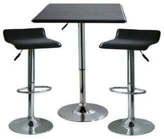 Amerihome 3-Piece Contemporary Adjustable Height Bar Set modern-indoor-pub-and-bistro-tables