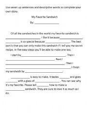 English worksheet: My Favorite Sandwhich Story Writing Worksheet