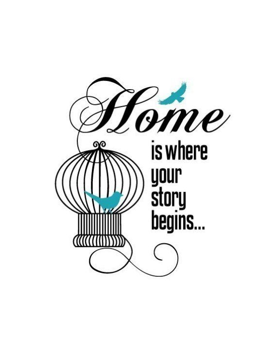 Home is where your story begins.    This is an print of an original illustration created by me, Erin McNulty.    Image measures 8x10 and is printed