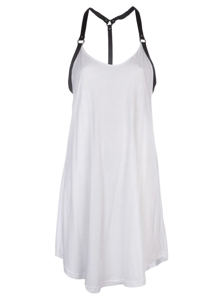 SKINGRAFT - harness tank dress with black leather straps on white cotton, racer back