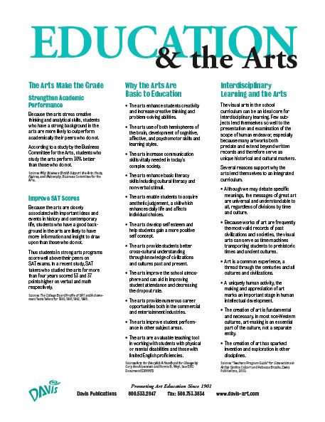 """"""" The Arts Make the Grade, Why the Arts Are Basic to Education, Interdisciplinary Learning and the Arts.""""  (This is the second PDF on the page -you can only view it by opening it up.)"""