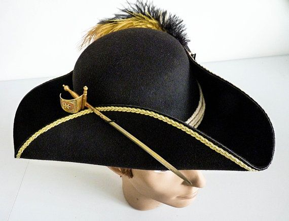 Unisex Pirate Tricorn Hat Jack Sparrow Fantasy Captain Hook Etsy Tight Braids Hats Pirate Wench
