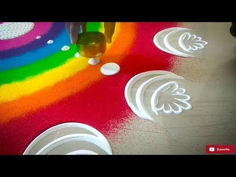 easy free hand rangole designs * simple rangoli with out dots * flower kolam *muggulu * rangavalli - YouTube