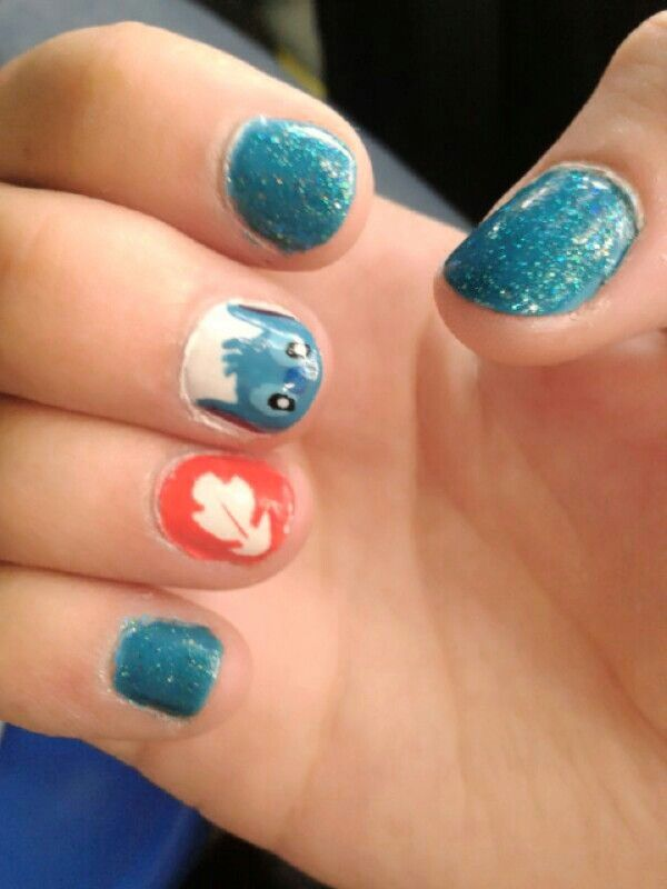 Uñas lilo y stich! Disney nails!