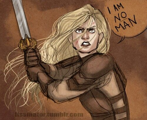 Don't mess with Eowyn. She will stab you in the face and leave you a crumpled mess of armor and black cloth.