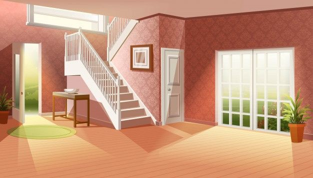 Cartoon Illustration Without Furniture Big Empty Living Room With Big Windows Going To The Garden And Entrance With Big Stairs In 2020 Big Windows Stairs House