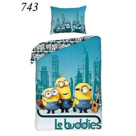 Detské posteľné obliečky s mimoňmi v meste
