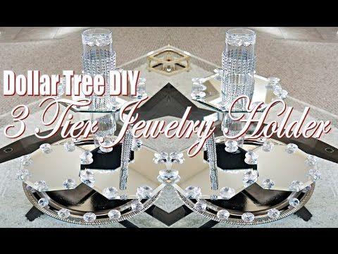 Dollar Tree DIY Tutorial 3 Tiered Mirrored Jewelry Holder/Organizer - YouTube