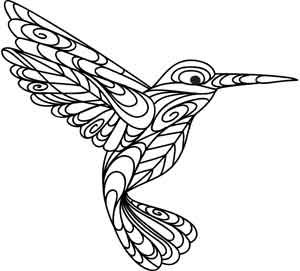 hummingbird embroidery; colour it, stitch it, paint it, etc.