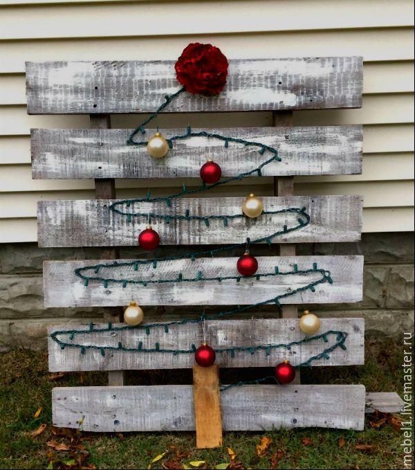 Совместная деятельность всегда оставляет уйму положительных эмоций, тем более если это происходит под Новый год. Вот очень простой мастер-класс, который вы с большой легкостью сможете выполнить вместе со своими маленькими (или не очень) детьми. Никаких особенных материалов. Все очень просто и доступно. Нам понадобятся: гирлянда; ёлочные шары; кисточка для краски; строительный степлер; шуруповерт; краска по дереву, белого цвета; доски от поддонов.