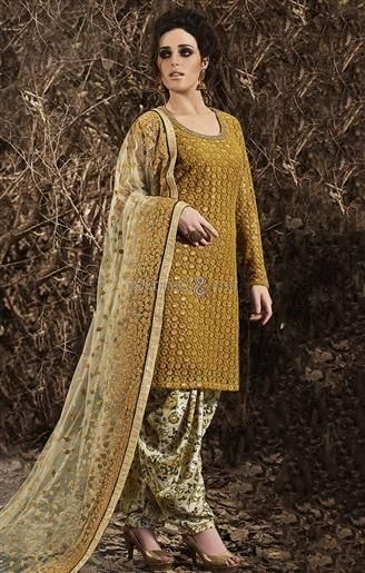 Chic Gold Heavy Worked Top N Printed Patiala  #Indian Style #Punjabi Wear #PunjabiSuits #PunjabiCollection  #Stylish #New Look #Attractive #Simple #Fancy #Designer #Modern #Good Looking #Trending Now