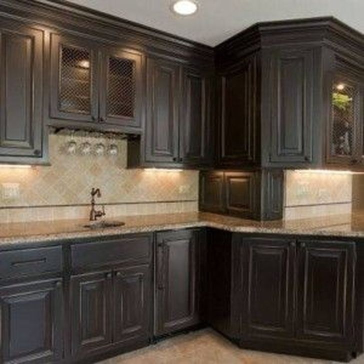 99 Magnficient Small Kitchens Ideas With Dark Cabinets Distressed Kitchen Black