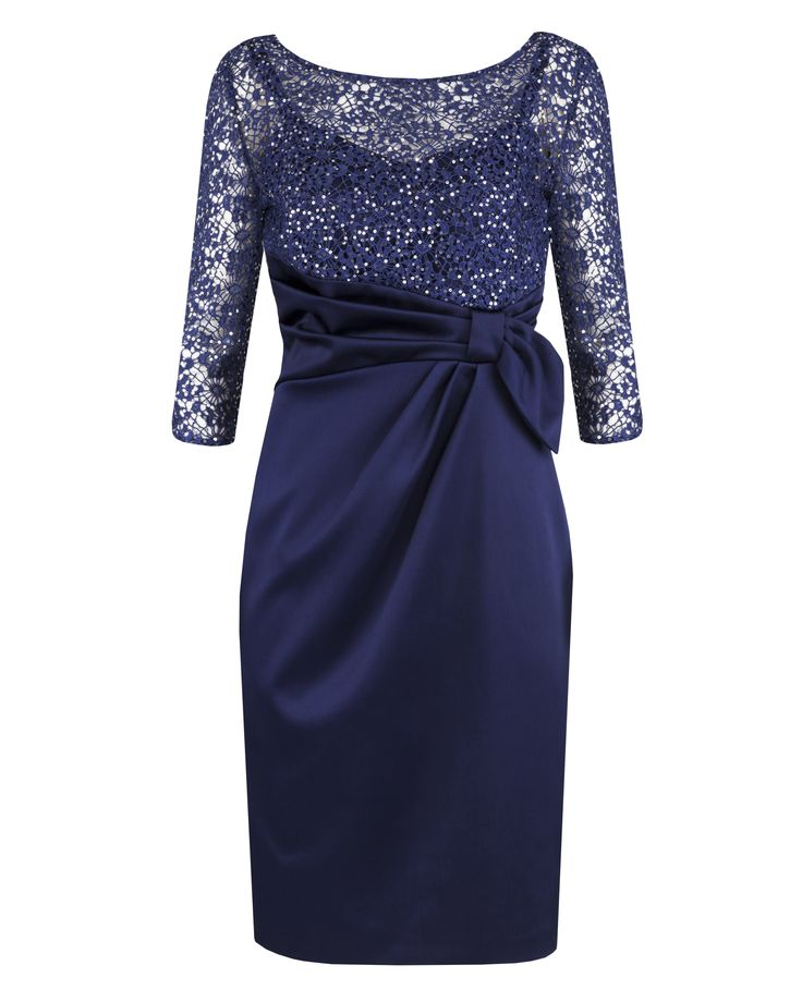 Royal Sequin Lace & Satin Dress