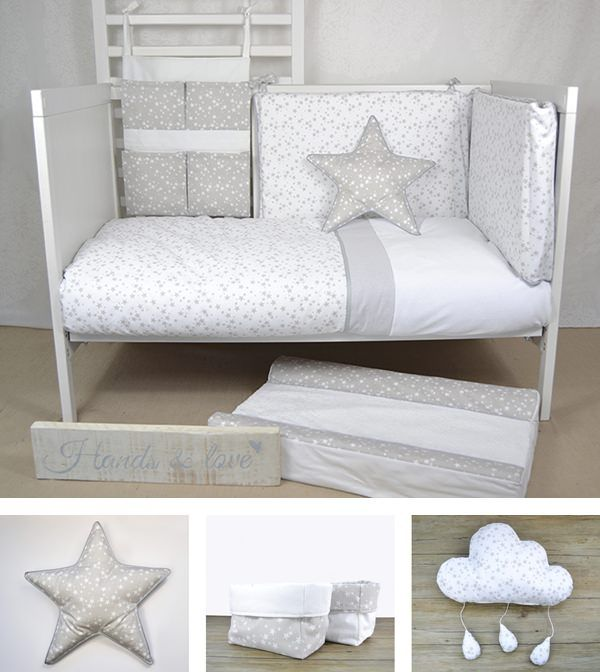 habitacion bebe en gris Hands & love, textil artesanal para el bebé