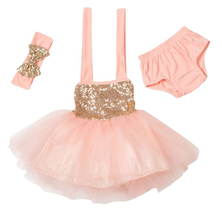 Take the guess work out of gift giving with our perfect pre-assembled outfits!  Comes with everything shown: gorgeous halter sequin tutu dress matching bloomer