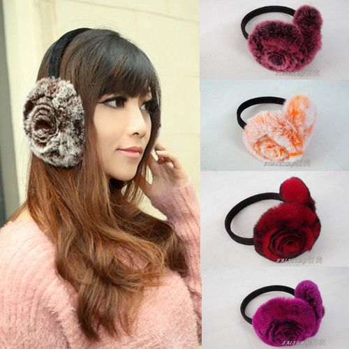 H220-handmade knitted Rex rabbit fur   fashion  earmuffs women's flower