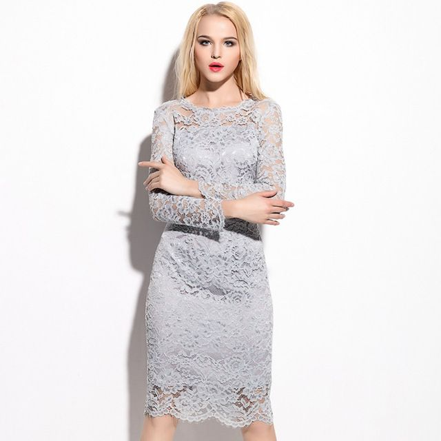 Elegant WomenLace Dress 2016 New Style Fashion Spring Dress Long Sleeve Women's Plus Size Embroidery Lace Sexy Party Dress Grey US $50.98 /piece   Click link to buy other product http://goo.gl/p8JMyk