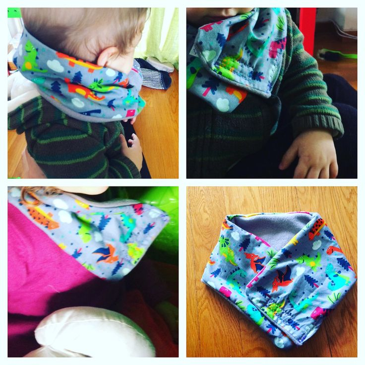 Unisex scarf from fleece - decorated with little dinosaurs